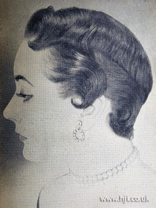1954 brunette crop with kiss curls