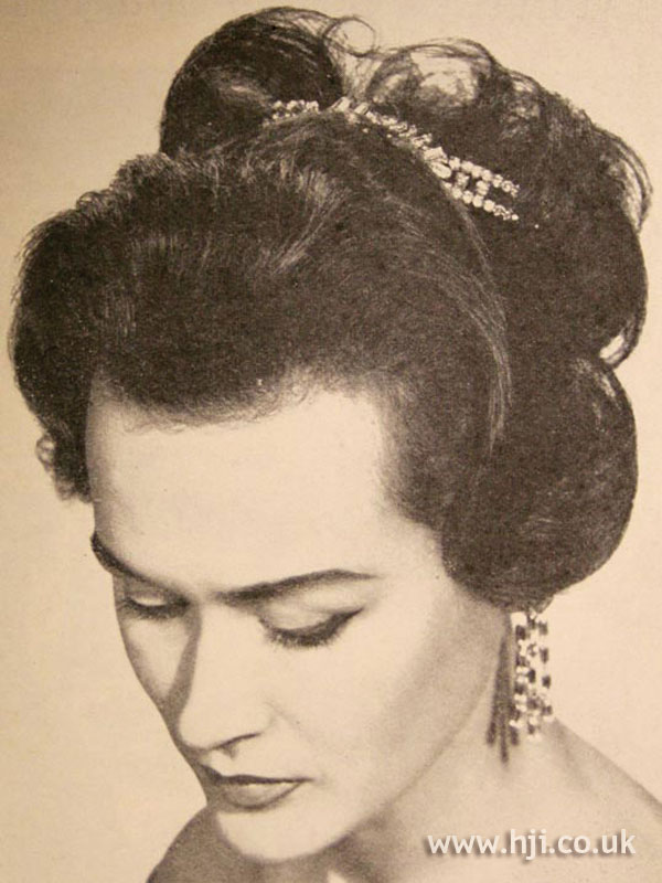 1956 brunette updo hairstyle