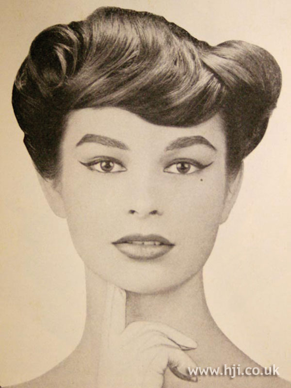 1957 updo with sweeping fringe