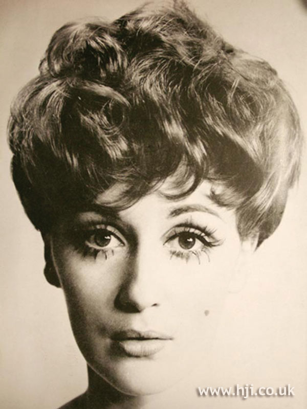 Curly 1960s bouffant hairstyle