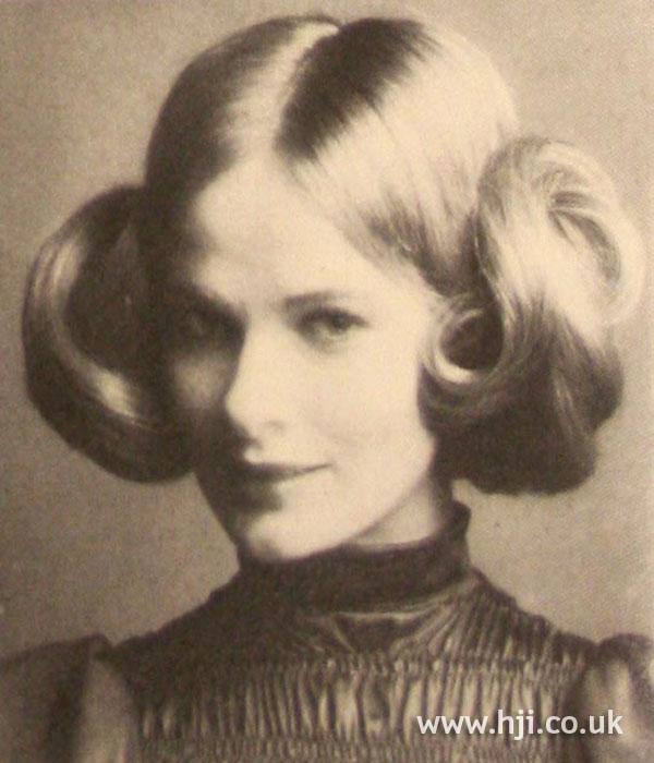1970s blonde double buns