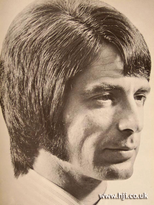 Side-parted layered 1970s men's hairstyle