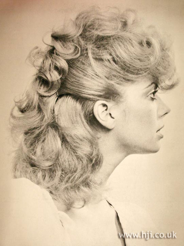 1970s blonde curly updo