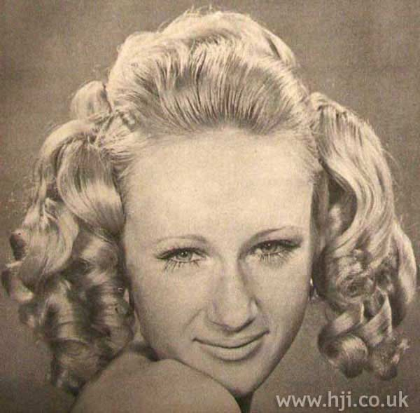 1970s ringlet updo hairstyle