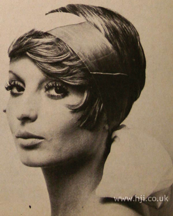 1970s crop hairstyle with headband