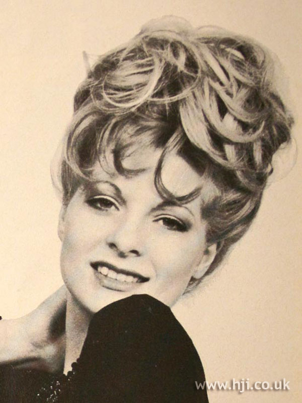 Curly 1970s layered updo