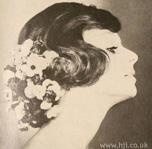 1970s wavy hairstyle with flowers