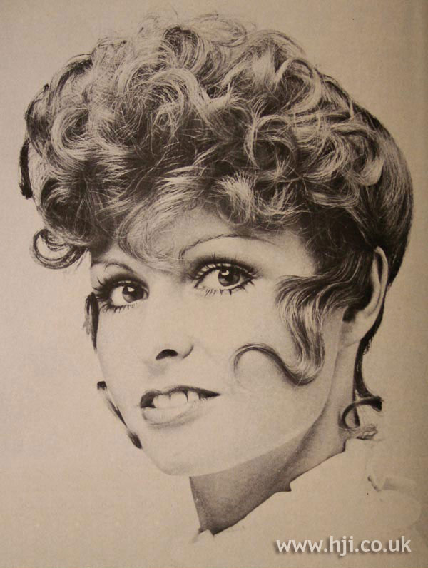 1970s curly updo with tendrils