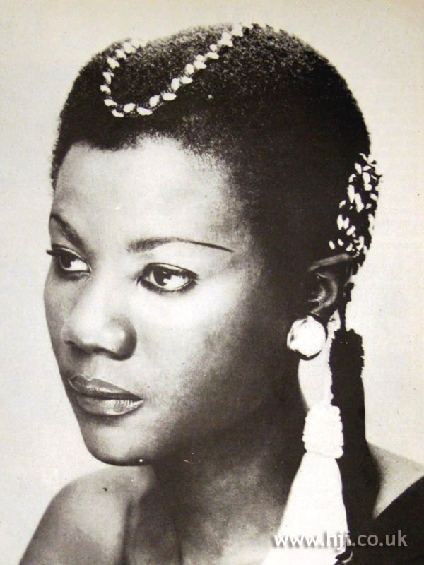 1970s afro with hair accessories