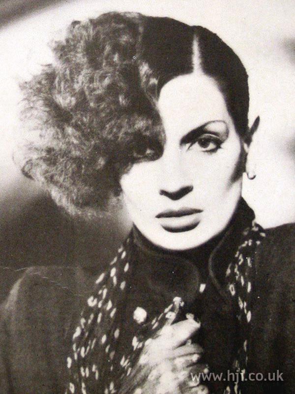 1979 asymmetric updo hairstyle