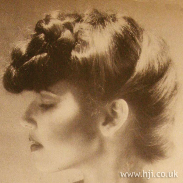 Twisted 1970s chignon hairstyle