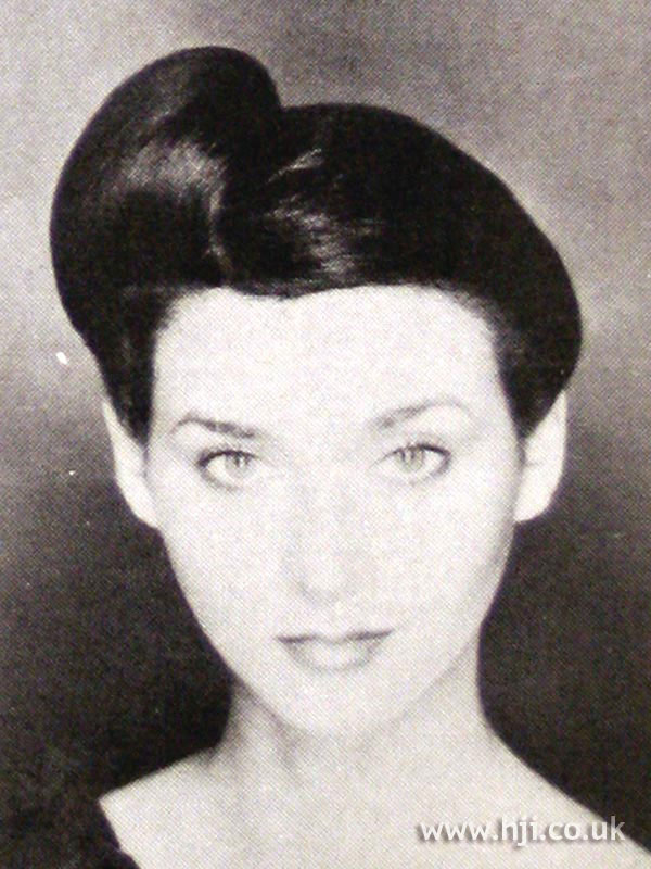 1979 brunette updo hairstyle