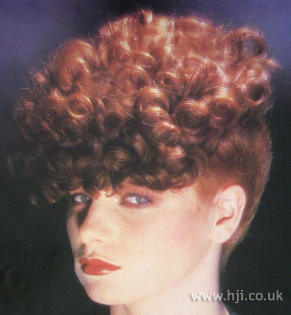 1970s red curly updo