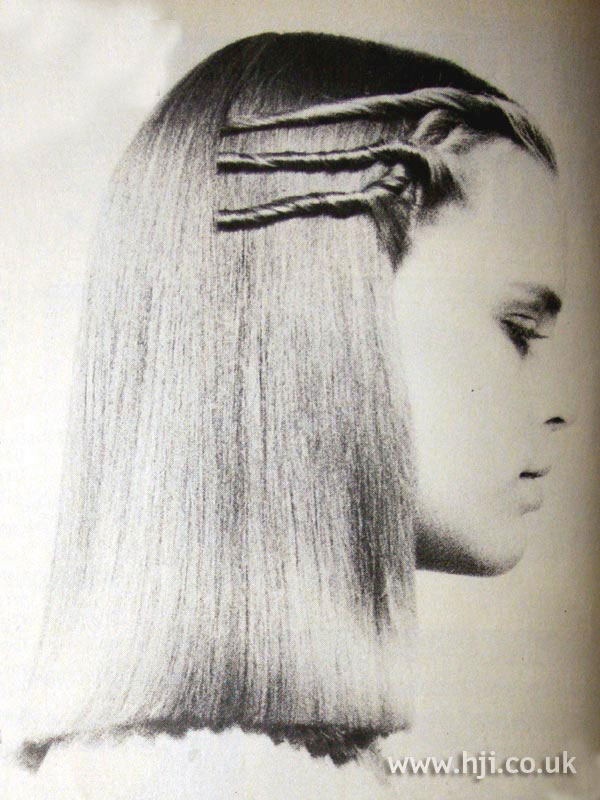 1970s sleek hairstyle with twisted detail