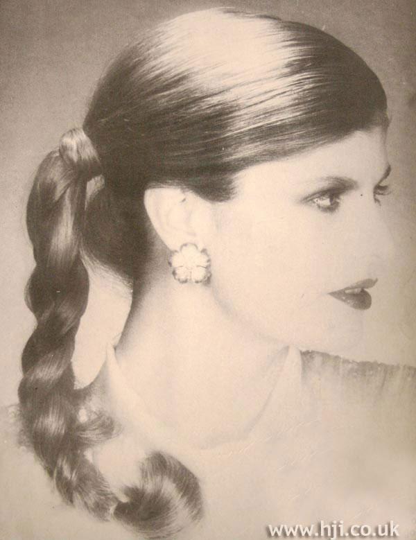 1970s long plaited ponytail