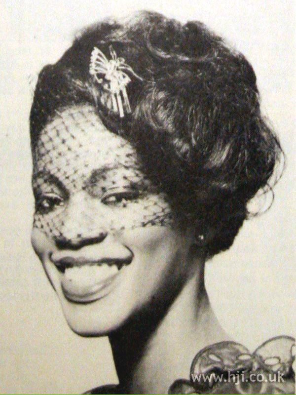 1970s updo with veil