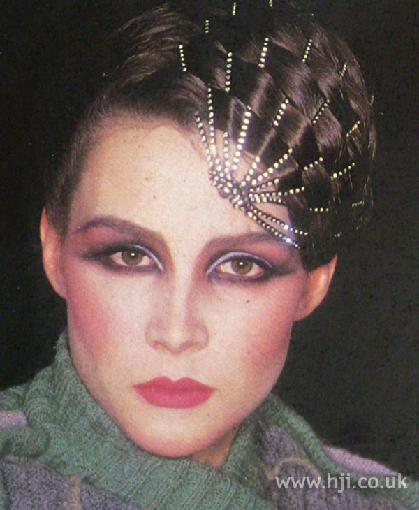 1970s woven hairstyle with accessories