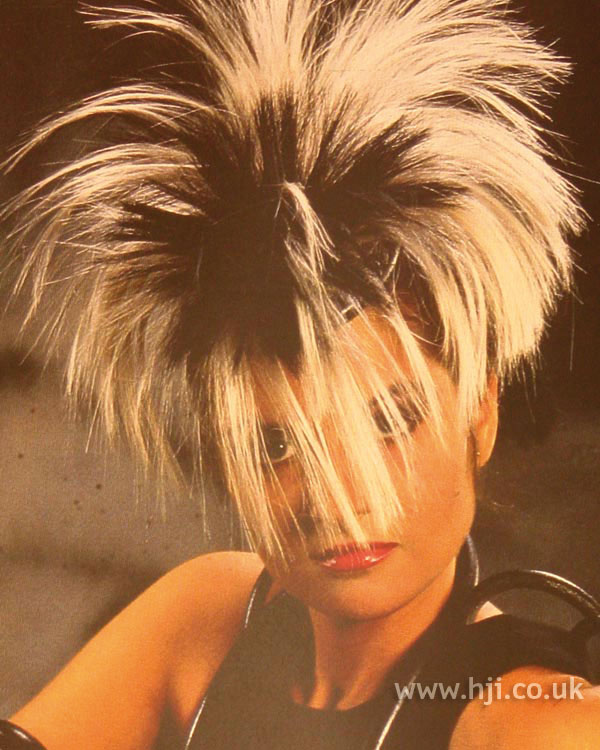 1984 black and white hairstyle