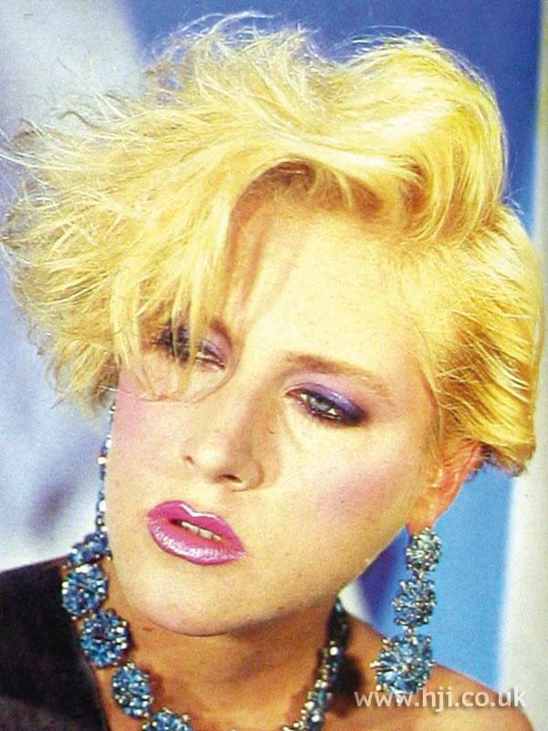 1984 blonde crop hairstyle