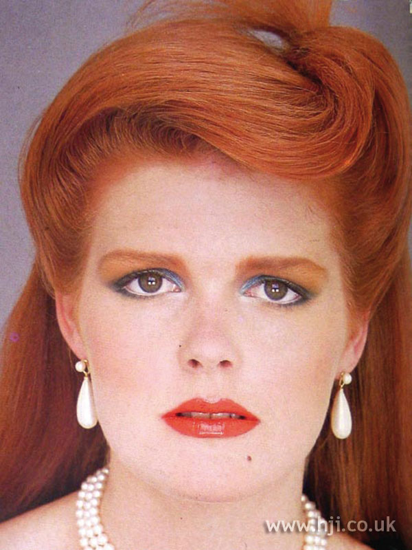 1984 long redhead hairstyle