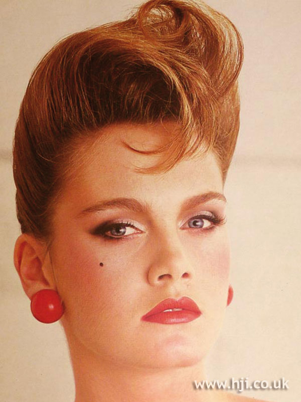 1984 redhead quiff hairstyle