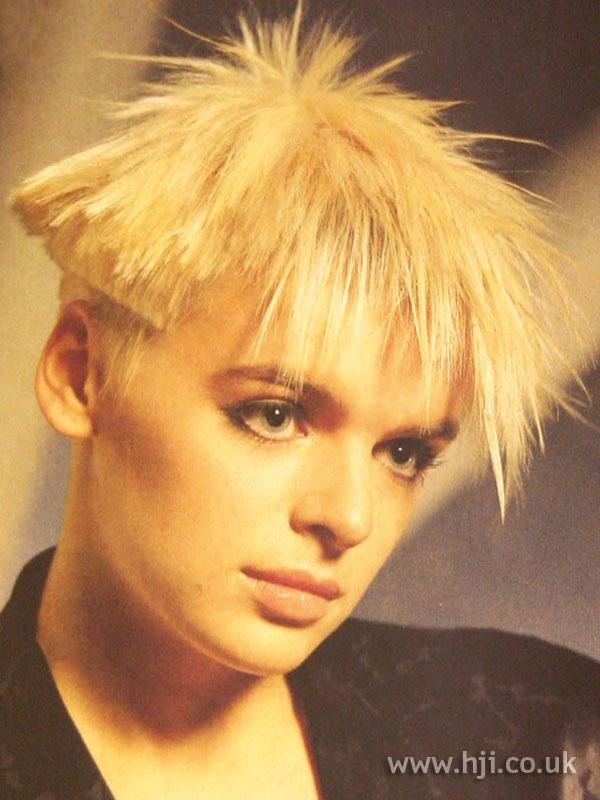 1986 blonde spiky hairstyle