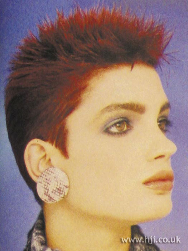 1986 cropped spiky hairstyle