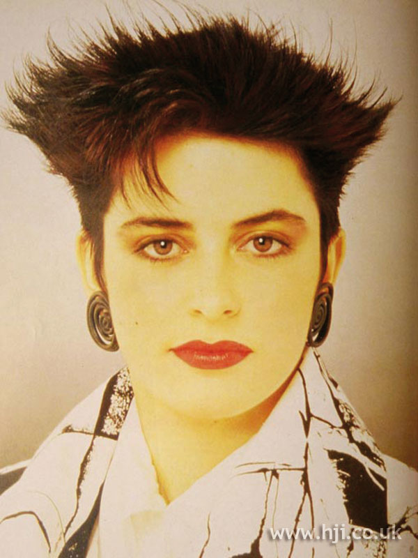 1986 spiky hairstyle with fringe