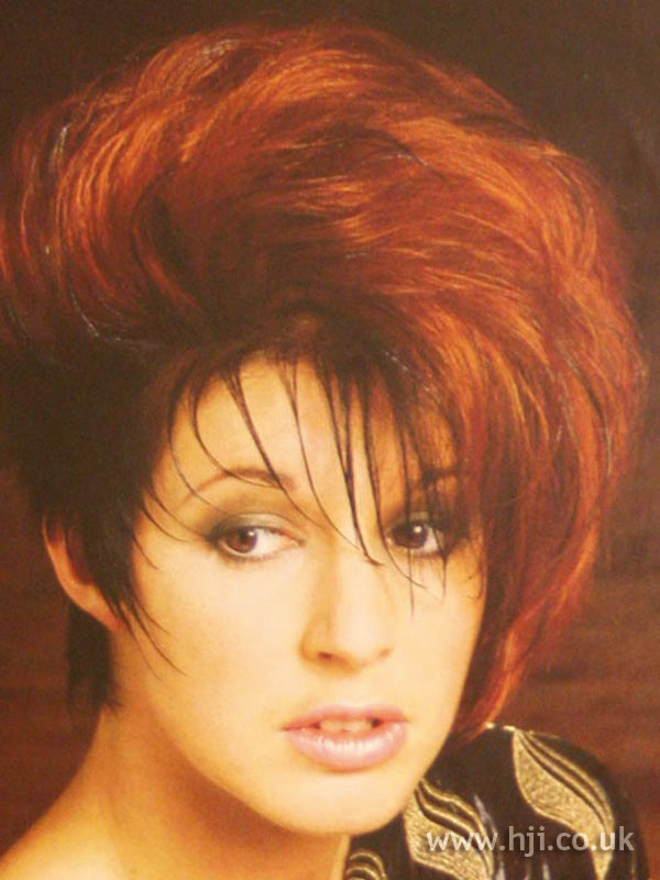 1986 red asymmetric hairstyle