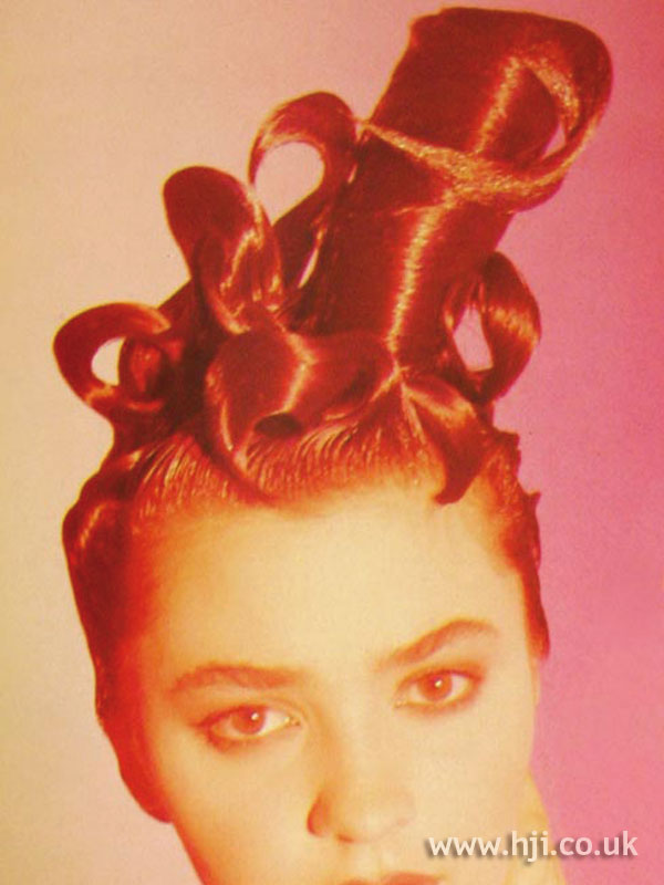 1986 red avant garde hairstyle