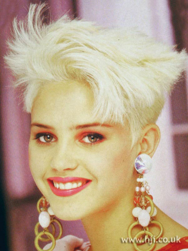 1987 blonde cropped hairstyle