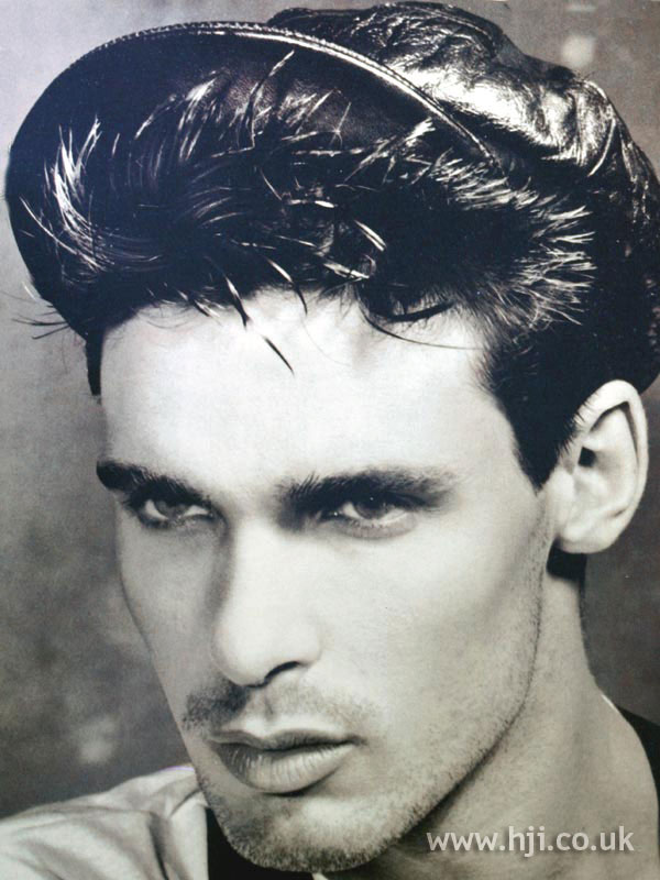 1987 men's gelled hairstyle