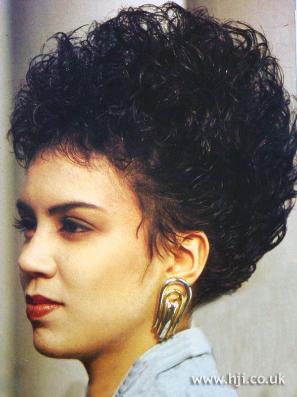 1987 black bouffant hairstyle