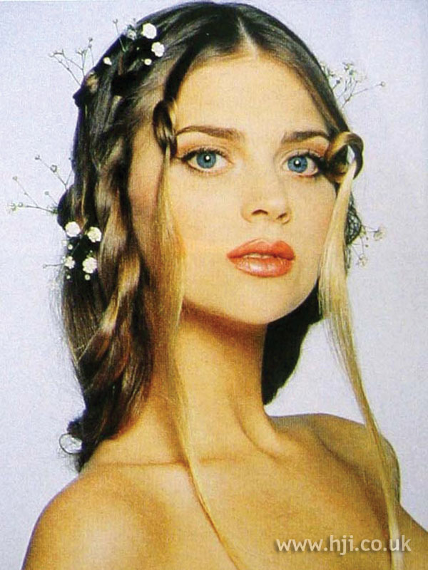 1997 long bridal hairstyle with flowers