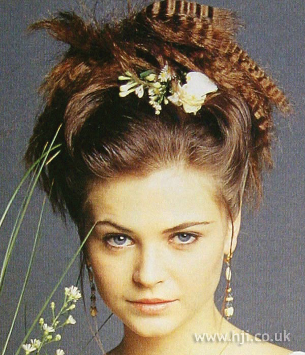 1990s crimped bridal updo