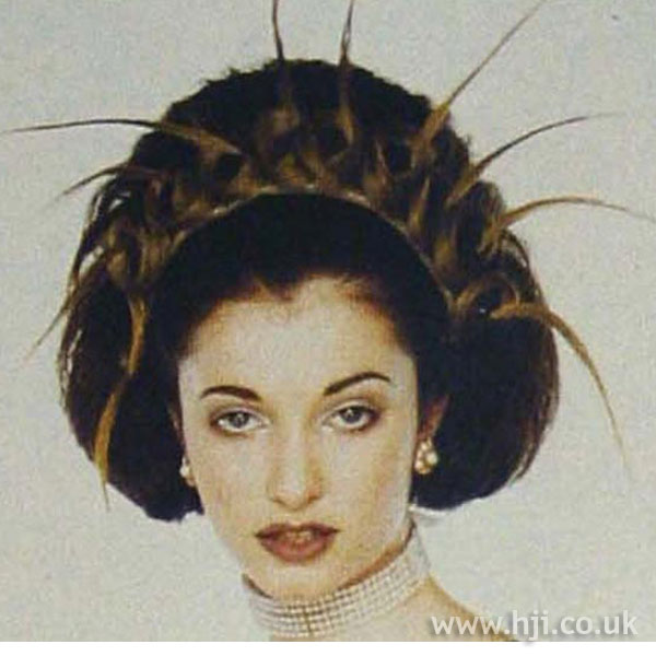 1997 brunette avant-garde hairstyle