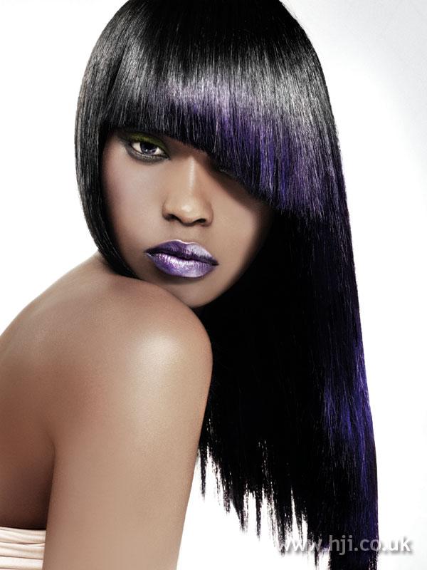 2006 black and purple sleek afro hair