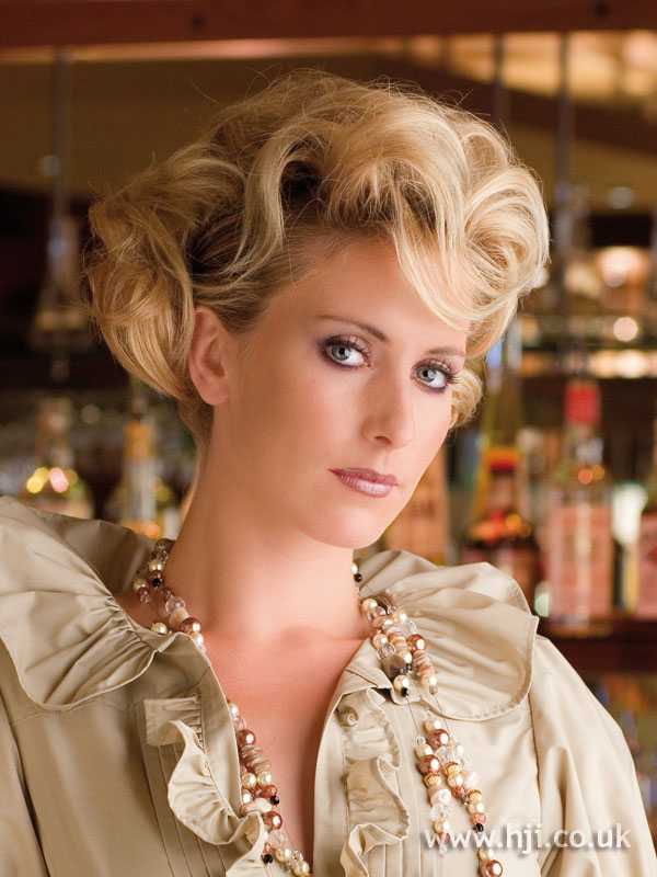 2006 blonde curled chignon