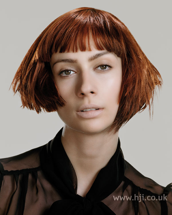 2006 blunt red bob with fringe