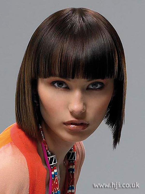 Chocolate brown bob with fringe
