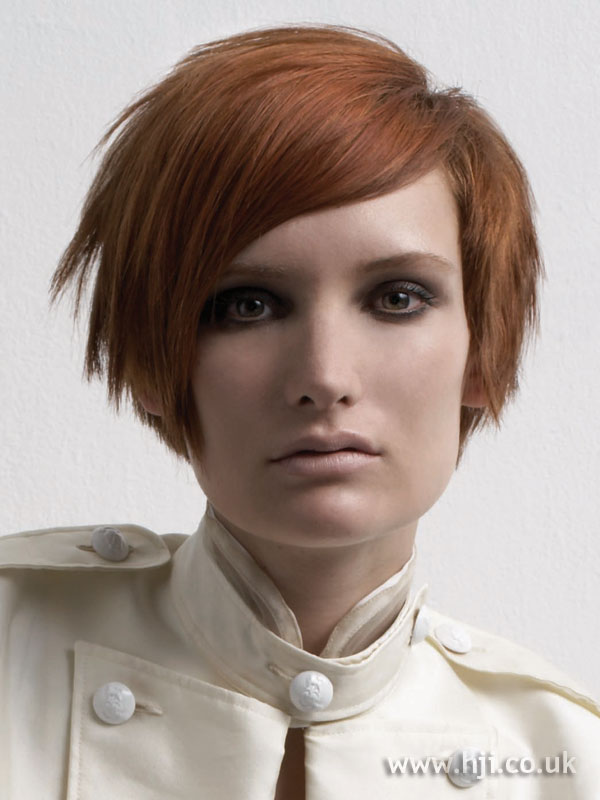 2006 short red layered bob