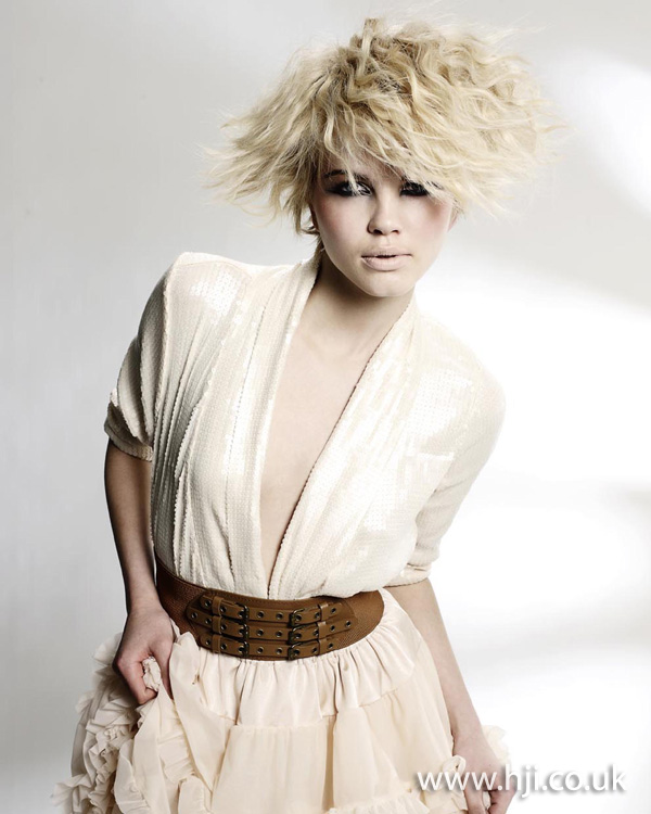 Blonde crimped hairstyle by Clynol Protege team