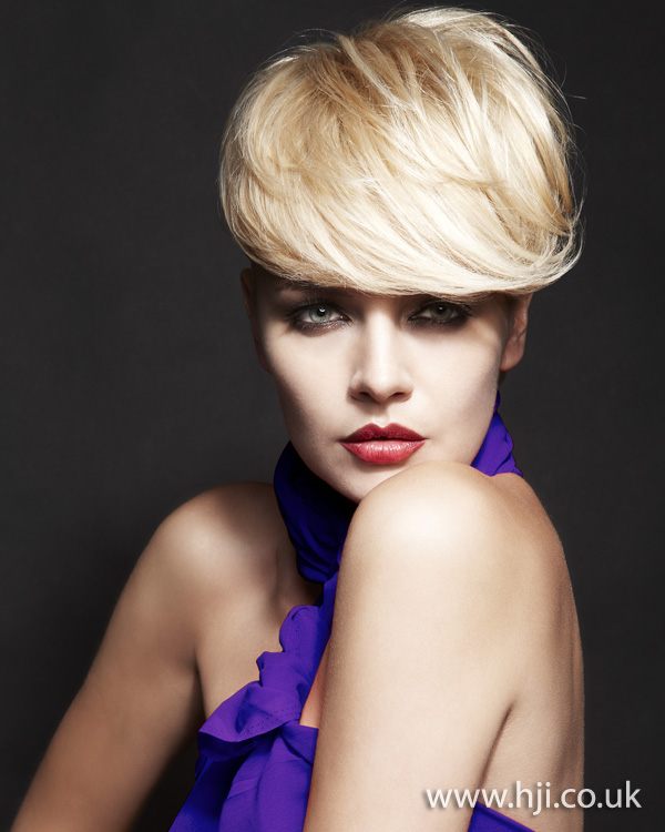 Blonde hair with heavy fringe by Nick Ford