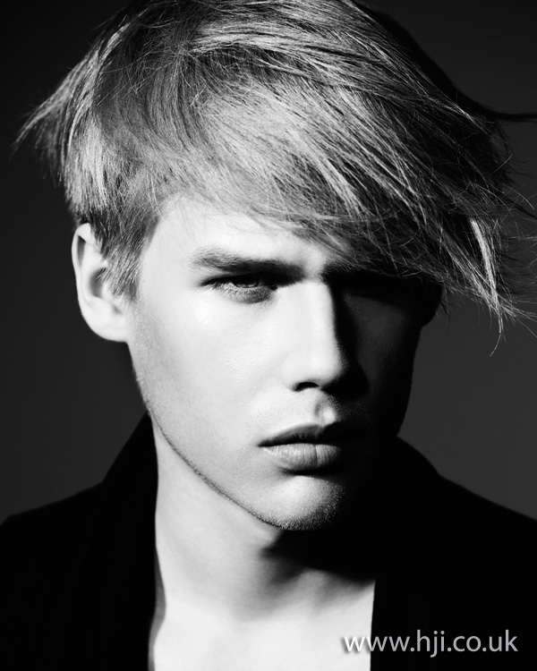 Mens soft blonde hairstyle