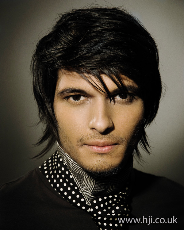 Mens dark long hairstyle