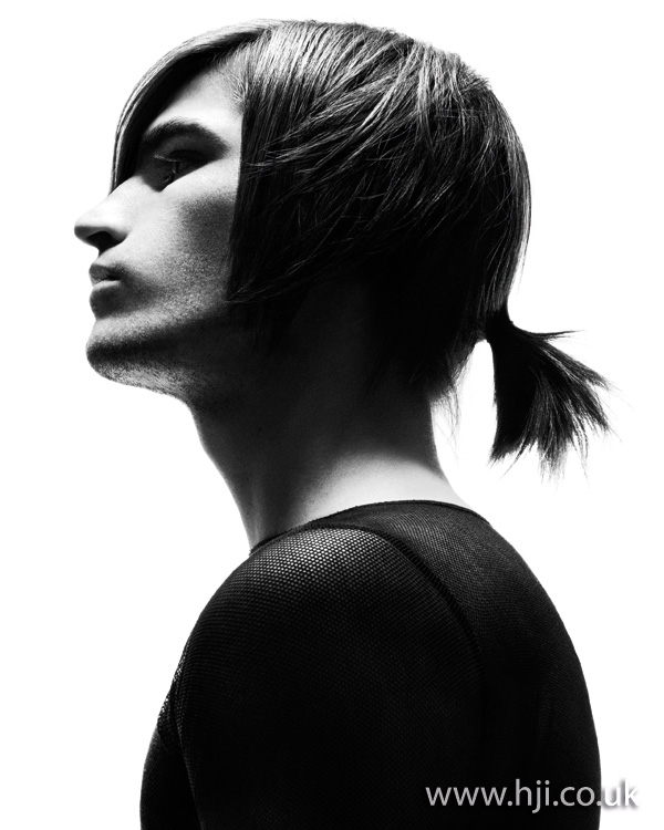 Mens long hair with ponytail