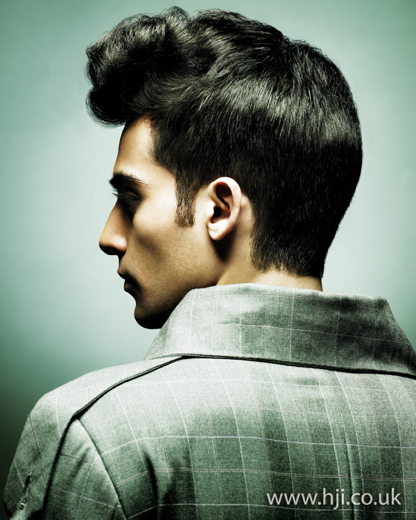 Mens profile quiff hairstyle