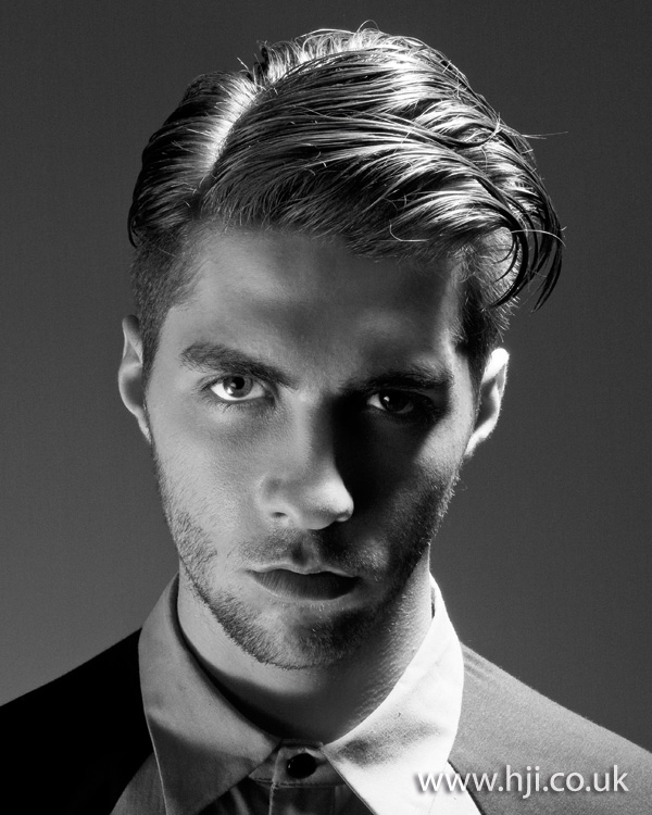 Mens Slicked Side-Parted Hairstyle