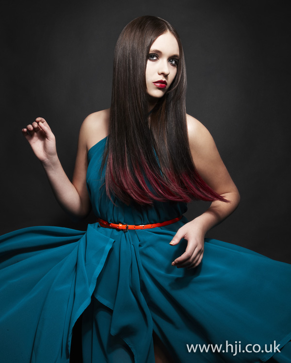 Sleek red dip dye by Nick Ford