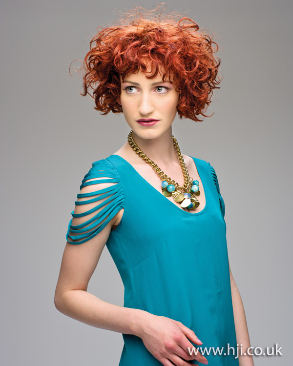 Red curly hairstyle by Altered